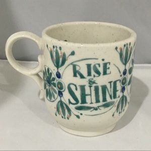 Anthropologie rise and shine ceramic coffee mug